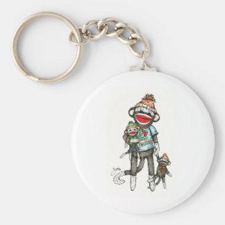 I Heart Sock Monkeys Basic Round Button Keychain