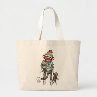 I Heart Sock Monkeys Large Tote Bag