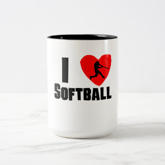 I Heart Softball Two-Tone Coffee Mug