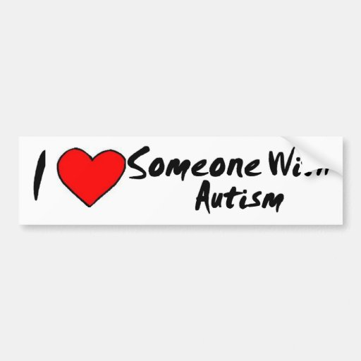 I Heart Someone With Autism Car Bumper Sticker