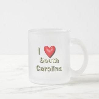 I Heart South Carolina Frosted Glass Coffee Mug