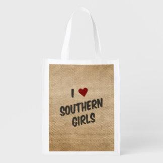 I Heart Southern Girls Burlap Grocery Bag