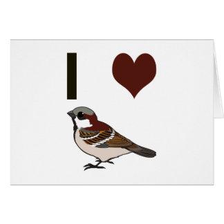 I heart sparrows card