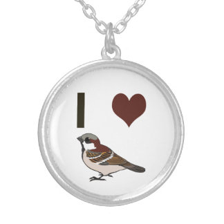 I heart sparrows silver plated necklace