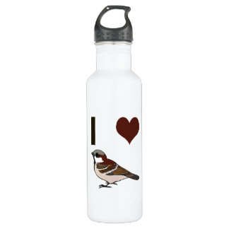 I heart sparrows stainless steel water bottle