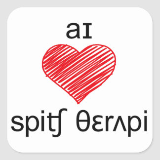 I heart Speech Therapy Square Stickers