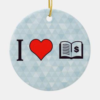 I Heart Spending Wisely Ceramic Ornament