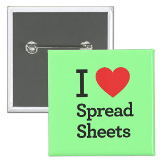 I Heart Spread Sheets Pinback Button