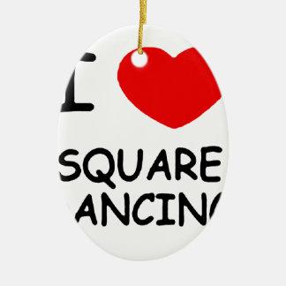 i heart square dancing ceramic ornament