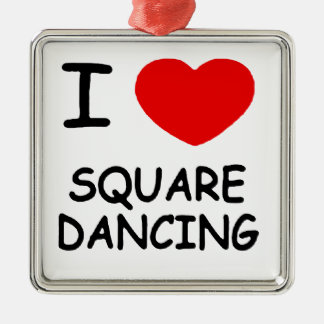 i heart square dancing metal ornament