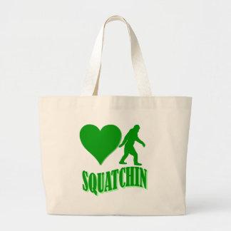I heart squatchin large tote bag