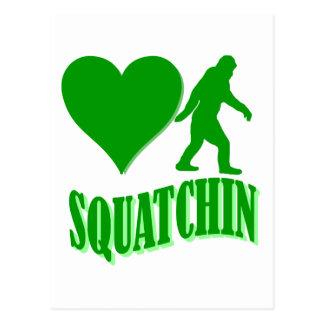 I heart squatchin postcard