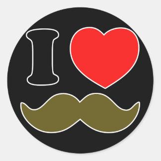I Heart Stache Classic Round Sticker