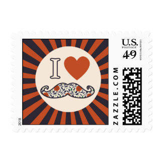 I Heart Stache Postage Stamps