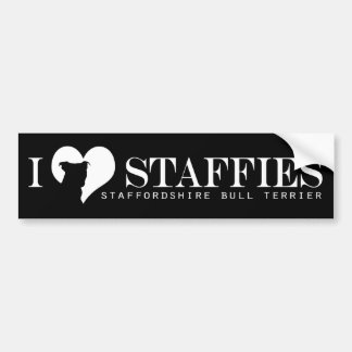 i heart Staffies - Bumper Sticker Black