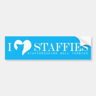 i heart Staffies - Bumper Sticker Blue