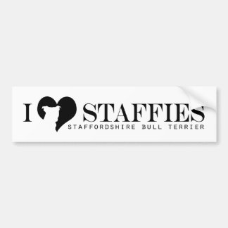 i heart Staffies - Bumper Sticker w/ Breed Name
