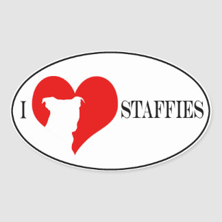 i heart Staffies - Oval Scrapbooking Stickers
