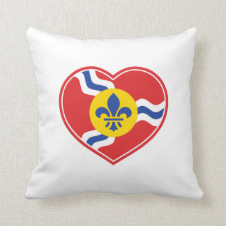 I Heart STL, St Louis Flag Pillow