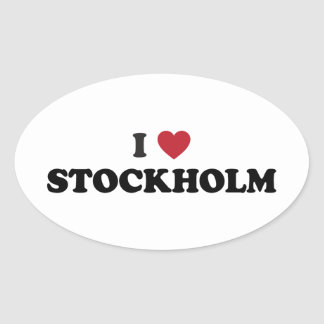 I Heart Stockholm Sweden Oval Sticker