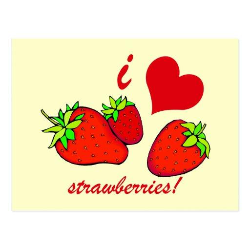 I heart strawberries postcard