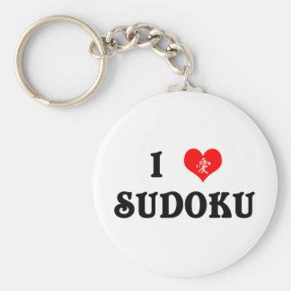 I Heart Sudoku White Keychain