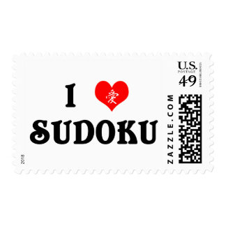 I Heart Sudoku White Postage Stamp