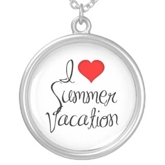 I Heart Summer Vacation Round Pendant Necklace