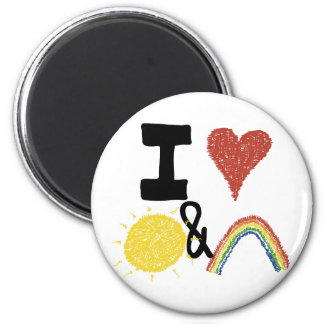 I Heart Sunshines And Rainbows 2 Inch Round Magnet