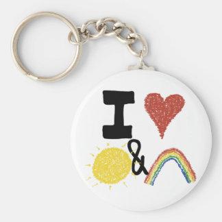 I Heart Sunshines And Rainbows Keychain