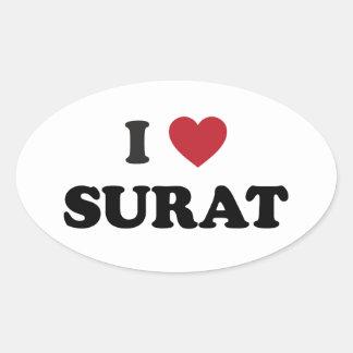 I Heart Surat India Oval Sticker