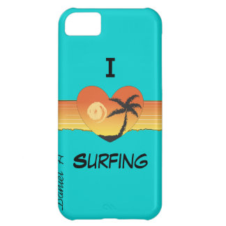 I heart surfing mint green phone case cover iPhone 5C cases