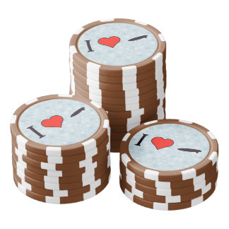 I Heart Surfing Poker Chips Set
