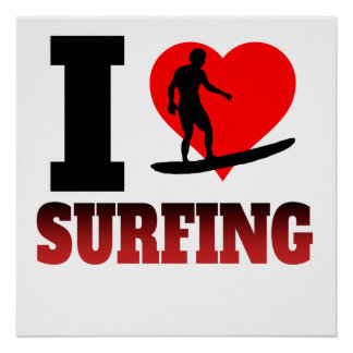 I Heart Surfing Poster