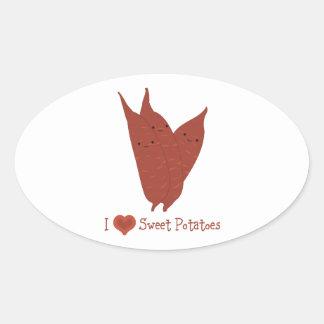 I heart sweet potatoes oval sticker