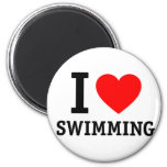 I Heart Swimming 2 Inch Round Magnet