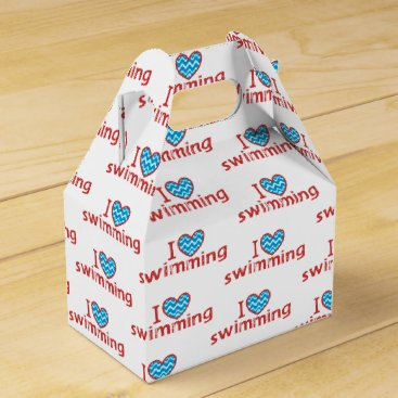 Valentines Themed I heart Swimming for Swimmers Favor Box