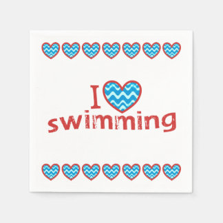 I heart Swimming for Swimmers Napkin