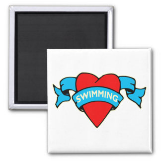 I heart swimming tattoo magnet