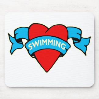 I heart swimming tattoo mousepad