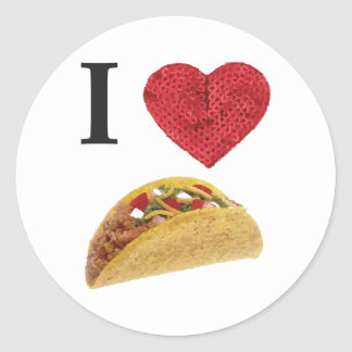 i heart tacos classic round sticker