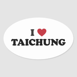 I Heart Taichung Taiwan Oval Sticker