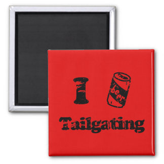 I Heart Tailgating with Beer Can - Any Team Colors 2 Inch Square Magnet