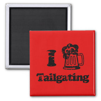 I Heart Tailgating with Beer Mug - Any Team Colors 2 Inch Square Magnet