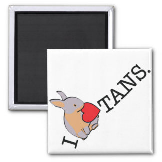 I HEART TANS! 2 INCH SQUARE MAGNET