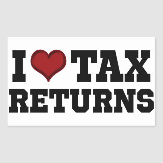 I Heart Tax Returns Rectangle Stickers