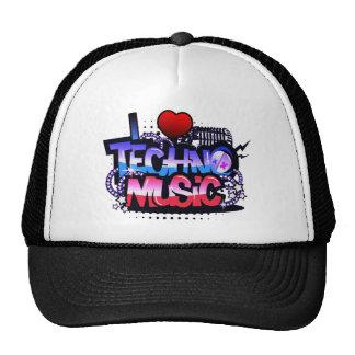 I Heart Techno Music Mesh Hats