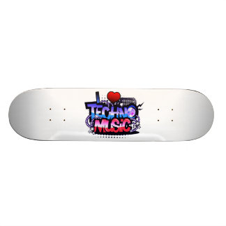 I Heart Techno Music Skateboard Deck