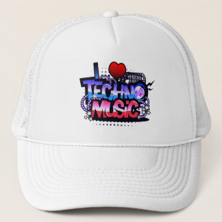 I Heart Techno Music Trucker Hat