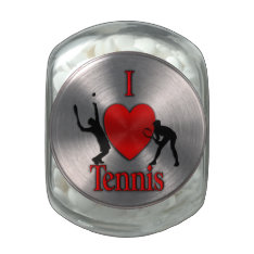 I Heart Tennis Glass Candy Jars at Zazzle